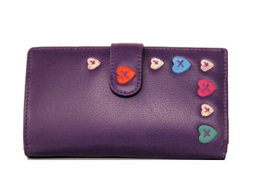 Mala Leather Lucy Large Tab Purse In Purple