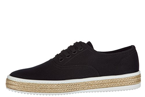 Prada Zapatos Zapatillas de Deporte Hombres EN Algodón Nuevo Drill Negro