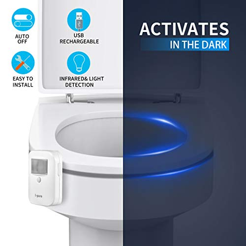 Rechargeable 16-Color Motion Sensor Toilet Bowl Night Light - Funny Birthday Gifts Idea for Dad, Mom, Men, Women & Kids - Christmas Stocking Stuffers - Cool Fun Gadget, Gag Present by I-Pure (1pack)