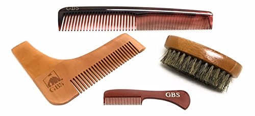 GBS 4 Piece Set - Premium Oval Wood Beard Brush with Boar Bristles, All-In-One Styling & template comb with 7 Tortoise Dressing comb and Mustache comb