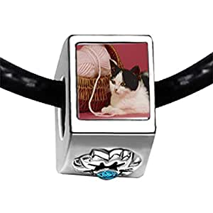 Chicforest Silver Plated Cat With Yarn Photo Blue Zircon Crystal December Birthstone Flower Charm Beads Fits Pandora Charm Bracelet