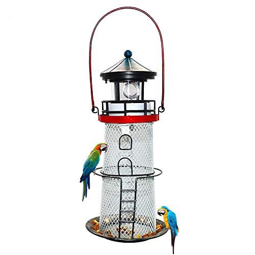 Solar Lighthouse,Metal Bird Feeder,Garden Outdoor Decor Lawn with Rotating LED Lamp,Hang,Portable,Lighthouse