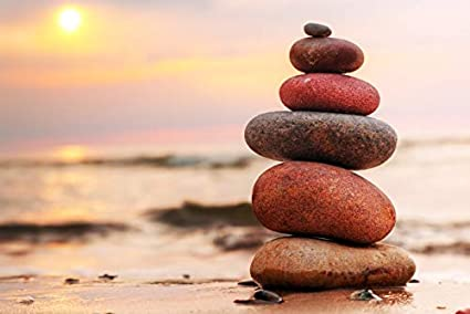 Amazon Com Stacked Zen Stones On Sand By Sunset Photography A