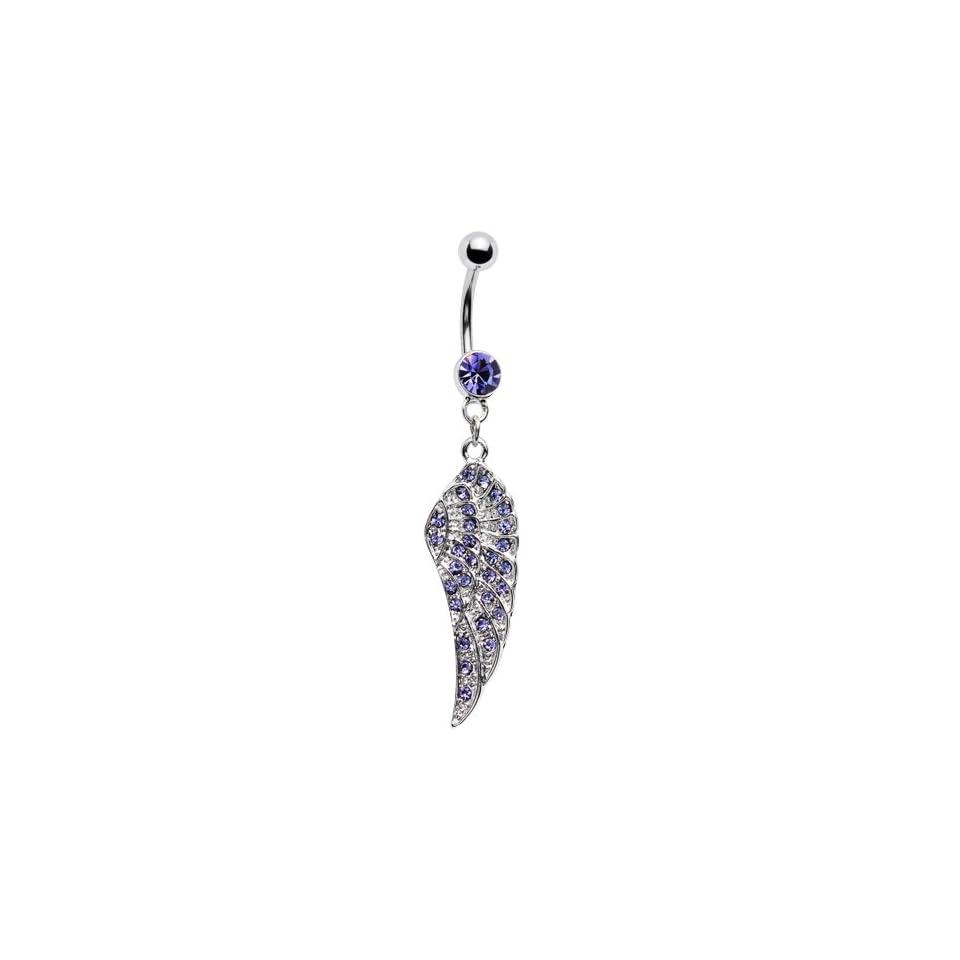 Purple Gem Angel Wing Belly Ring