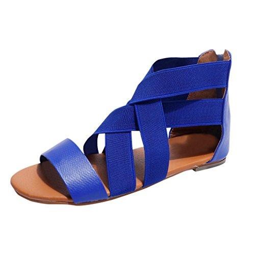 Sandalen Damen LHWY Frauen Sommer Flache Heels Flip Flops Hausschuhe Strand Schuhe Kreuz Elastische Rückseite Reißverschluss Römischen Casual Sandalen Blau