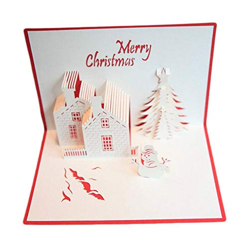 RoseSummer 3D Pop Up Christmas Green Pine Tree Holiday Gift Cards