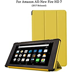 NUYEA DY17HD7 Case for Fire 7 (2017 Released), Ultra Slim Light-Weight PU Leather Folio Case with Smart Auto Wake/Sleep for Fire HD 7, Yellow