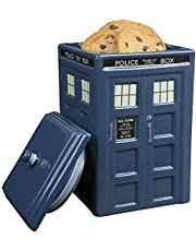 """Doctor Who TARDIS Cookie Jar - Collectible Ceramic Dr. Who Police Box with Lid - 10\""""h"""