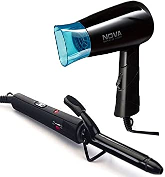 Nova Freshers pack NHP 8100/05 + NHC 850 Straightenerand Hair Dryer  Black  Hair Styling Tools