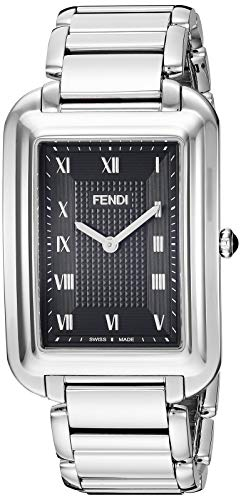 Fendi Stainless Steel Bracelet - Fendi Classico Rectangular Swiss Made Classic Mens Thin Watch Stainless Steel Metal Band - Analog Quartz Black Face with Sapphire crystal Luxury Rectangle Dress Watches For Men F701011000