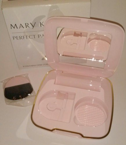 Mary Kay Set Perfect Pair Compact Vintage Set ~ Pink Round Day Radiance Powder Brush ~ Holds Foundation & Lipstick 7996