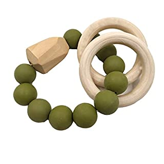 Alenybeby Natural Wooden Beads Silicone Beads Bracelet Baby Tooth Nursing Toys Baby Shower Toys Gift (Army green-01)