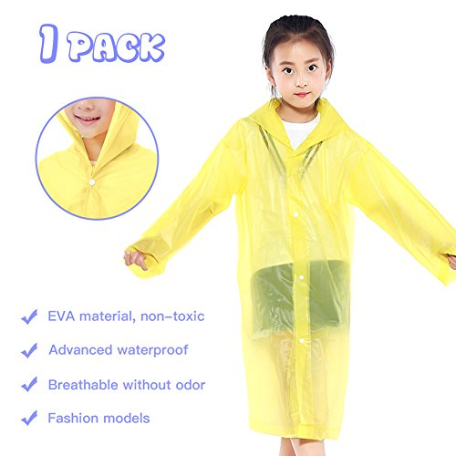 Euow Kids Children Rain Ponchos Reusable Raincoat Waterproof Girls Boy Rain Ponchos with Hoods for 6-12 Year Old for School Travel,Camping,Hiking,Fishing and Emergency,Thicker Material for Kids (B)
