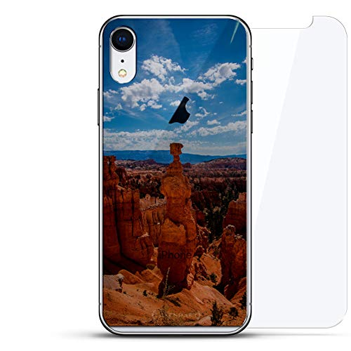 Nature: Canyon Seethrough | Luxendary Un-Case Series Designer Glass Back-Plate Bundled with Front Glass Screen Protector for iPhone XR