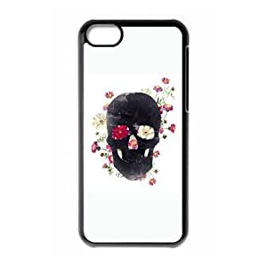 iPhone 5c Cell Phone Case Black Skull Grunge Flower BDK Phones Covers