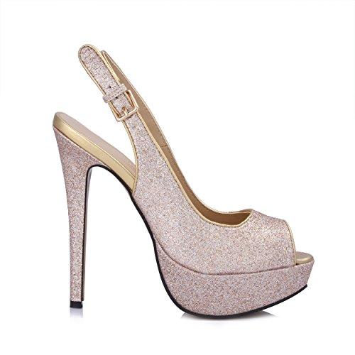 Vrouwen Jurk Hakken Sandalen Platform Pompen Glitter Goud Slingback Muilezels Schoenen Prime Glitter Goud
