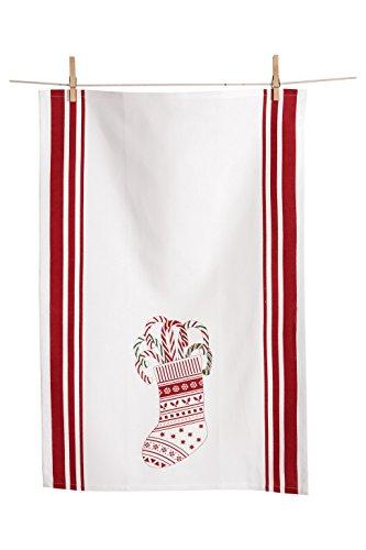 KAF Home Holiday Kitchen Towel, Candy Cane Stocking, Set of 2, 100% Cotton & Machine Washable