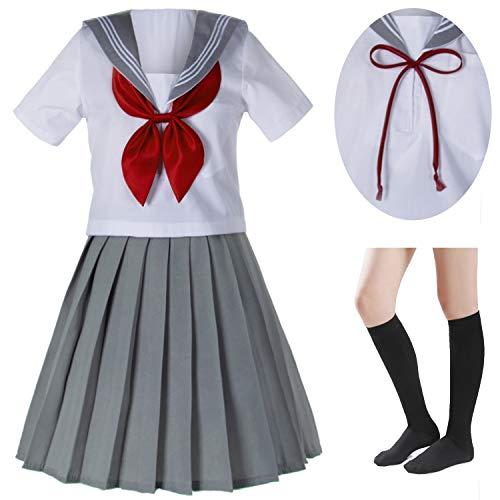 Japanese School Girls Sailor JK Uniform Gray Pleated Skirt Anime Cosplay Costumes with Socks Set(SSF29) S ()