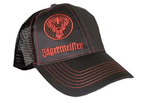 (Authentic Jagermeister Charcoal & Orange Trucker Hat Cap Adjustable Deer)