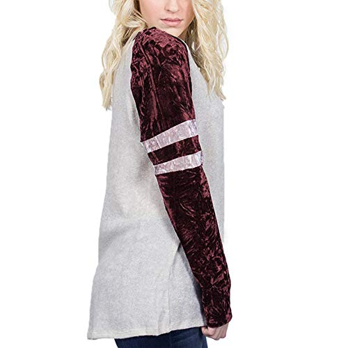 Longues Manches Chic Pull 2018 Angelof Tops Vetement amp; XXL Hiver Rond Loose Rouge Col Wine Patchwork Femme Longues gEqRxR08wY