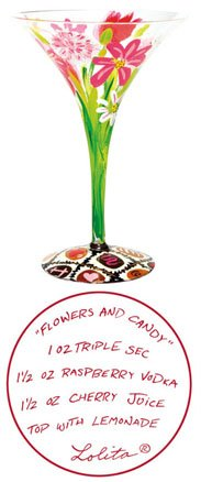 Lolita Martini Glass Valentines Flowers and (Ceramic Martini Glass)