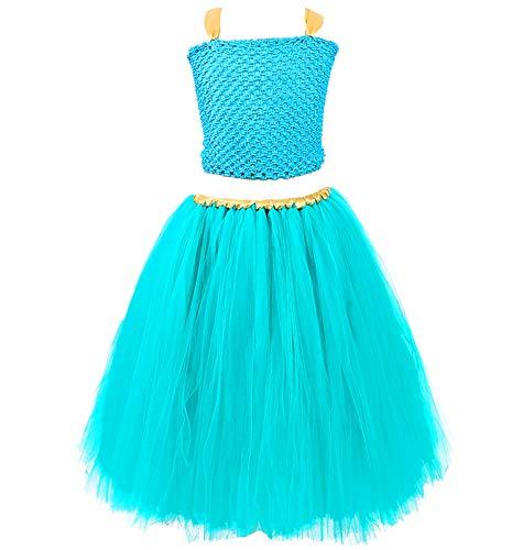 Tutu Dreams Kids Princess Costume Teal Dress Halloween Birthday Party (Aqua, 10)]()