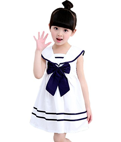 (Taiycyxgan Girls Summer Dress Nautical Collar Sailor Dress with Bow-Tie White 130)