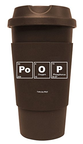Funny Guy Mugs Periodic Poop Travel Tumbler With Removable Insulated Silicone Sleeve, Brown, 16-Ounce