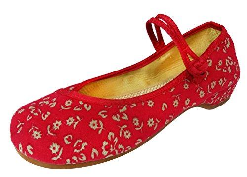 SMITHROAD Damen/Mädchen Slipper Mary Jane Halbschuhe Blumen Stickmuster mit Riemen Sandalen in Viele Farben Gr.34-41 Blume03 Rot