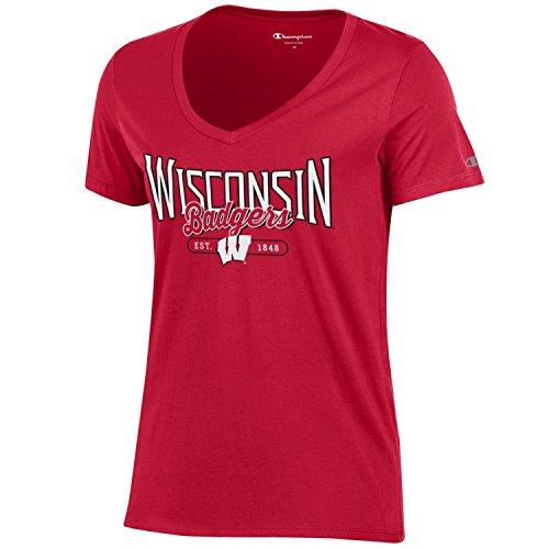 Champion NCAA Women's University Short Sleeve Tagless Lady's V-Neck Tee, Wisconsin Badgers, X-Large