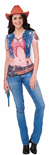 Women's Cowgirl Printed Costume Sublimation Shirt Large 12-14 (Cowgirl Costume Women)