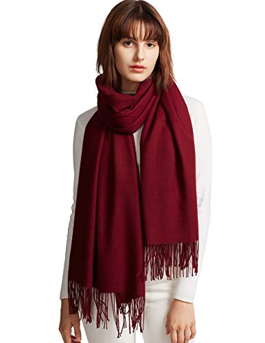 MaaMgic Women's Super Soft Pashminas Wraps, Solid Color Scarf, Warm Shawls For Wedding Party, Burgundy, One Size, Large