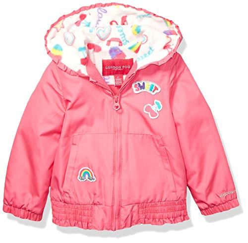 (London Fog Girls' Little Floral Printed Fleece Lined Jacket, Poppy Shock Pink 4)