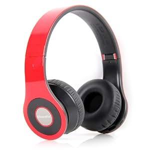 Bluedio B - Auriculares de diadema cerrados estéreo, color rojo