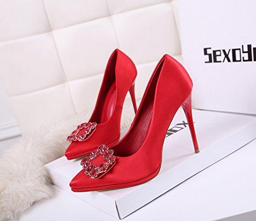 ZXMXY pedrería Rojo Zapatos Primavera Zapatos de de Novia Mujer rd0r8xwXqP