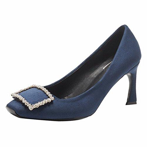 Mujer Diariamente Blue Ocio Sola YUCH Zapatos Zapatos Lado La Hebilla aSTqwyx5P4