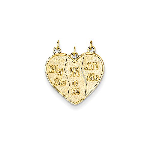 14k Yellow Gold Break-apart Big Sis, Mom, Lil Sis Pendant (Sister Big Gold Charm)