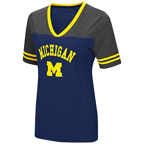 - Colosseum Women's NCAA Varsity Jersey V-Neck T-Shirt-Michigan Wolverines-Blue-Large