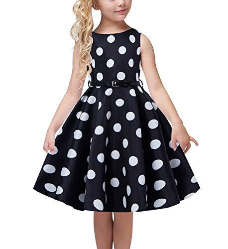 uideazone Children Kids Retro 50s Vintage Dresses Elegant Sleeveless Knee Length Swing Dress Adorable Polka Dot Prints Crew Neck Sundress with Belt for Girls 12-13 Years Black