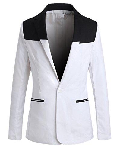 TM Men's Fashion Casual Slim Fit Suit Blazer Coat Jacket Black White M