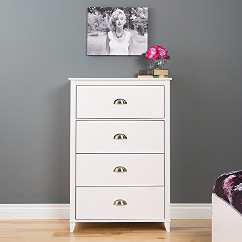 Prepac Yaletown 4 Drawer Chest, White (Prepac Large Four)