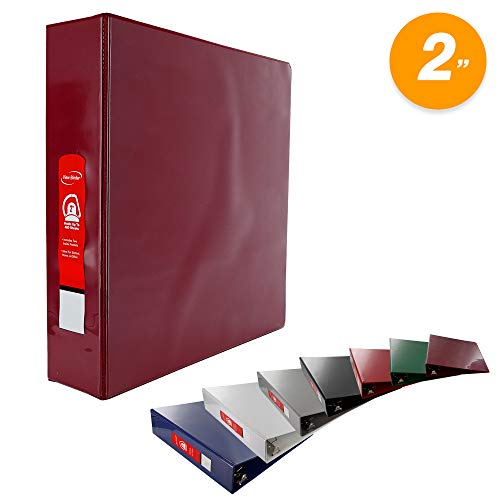 (Emraw Burgundy Slant D Ring View Binder with 2 Pockets Presentation Durable View Round Ring Binder 2 inch Customize able Clear View Notebook Binder for Home Office and)
