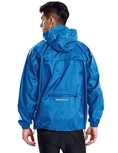 Baleaf Unisex Rain Jacket Packable Outdoor Waterproof Hooded Pullover Raincoat Poncho Blue Size S