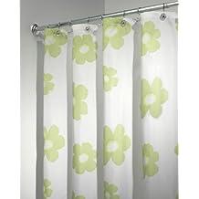 "InterDesign Poppy Floral Fabric Shower Curtain - 72"" x 72"", Green"