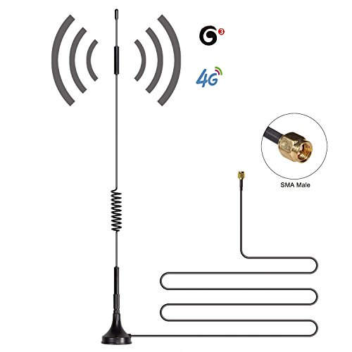 Lysignal 12dBi High Gain Omni-Directional SMA Male Antenna, 700MHz-2700MHz Wide Band 2.4GHz WCDMA 3G 4G LTE GSM Magnentic Antenna with 10ft Cable