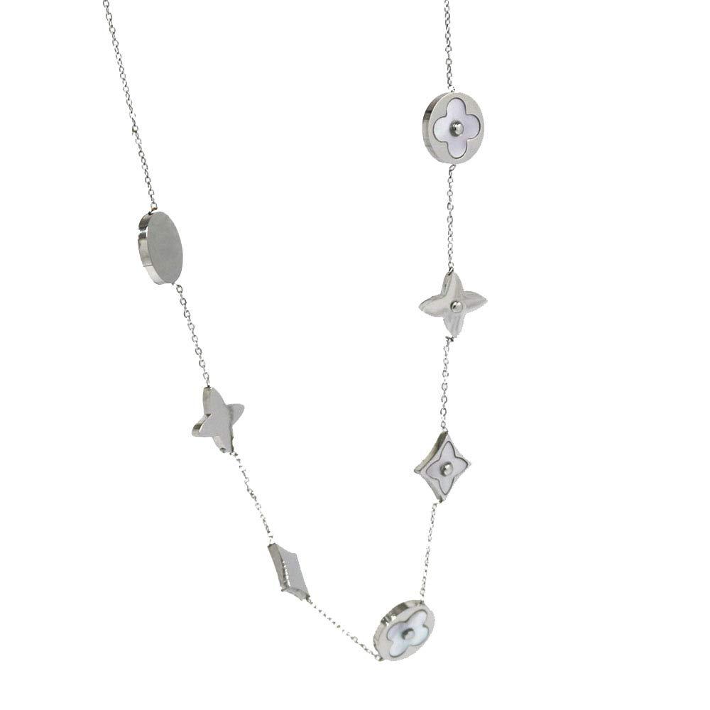 Baoliren White Shell Titanium Steel Yellow Gold Round Multi Clover Women's Strand Necklace (Silver Color) by Baoliren