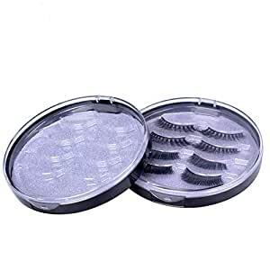 2 PCS Round False Eyelashes Packing Box Fake Eyelash Storage Case Transparent Lashes Holder Box Travel 4 Pari B