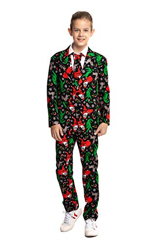 (U LOOK UGLY TODAY Boys Bachelor Party Suit Funny Costume Novelty Xmas Jacket with Tie Christmas)