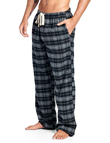 Ashford & Brooks Mens Super Soft Flannel Plaid Pajama Sleep Pants - Black Check - 3X-Large