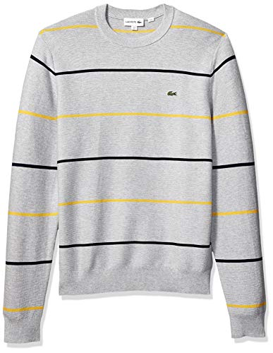 Links Stitch Sweater - Lacoste Men's Long Sleeve Links Cotton Striped Sweater, Silver Chine/Navy Blue/PHYSALIS, XXX-Large
